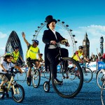 cycling entertainer on a penny farthing
