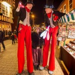 stilt walkers at christmas event