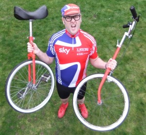 comedy unicyclist, racing themed