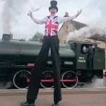 british themed stilt walker
