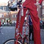 christmas stilt bicycle