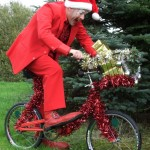 christmas clown with comedy bike
