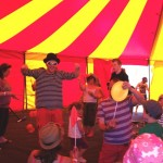circus skills workshop in a circus tent