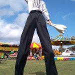 disco themed stilt walker