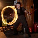 Zombie-esque fire juggler