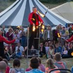Fire juggling show at festival