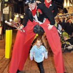 victorian stilt walkers double act