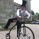 victorian themed cyclist entertainer