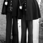 stilt walking policemen