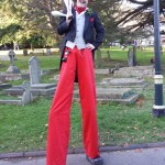 victorian themed stilt walker